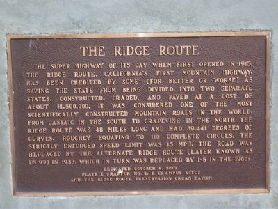 The Ridge Route Marker Photo, Click for full size