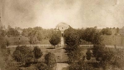 View of the Quad in 1859. The Rotunda can be seen in the center image. Click for full size.