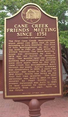 Cane Creek Friends Meeting Since 1751 Marker Photo, Click for full size
