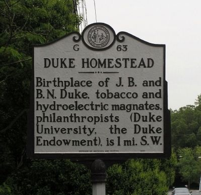 Duke Homestead Marker Photo, Click for full size