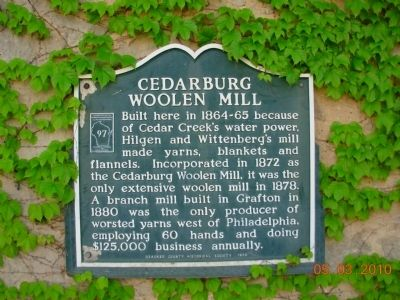 Cedarburg Woolen Mill Marker image. Click for full size.