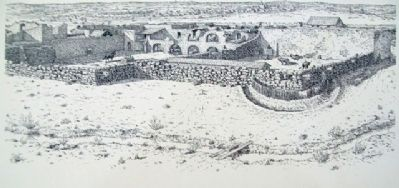 Drawing of the Alamo in 1836 on Marker image. Click for full size.