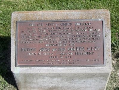 Burial Site of Chief Solano Marker Photo, Click for full size