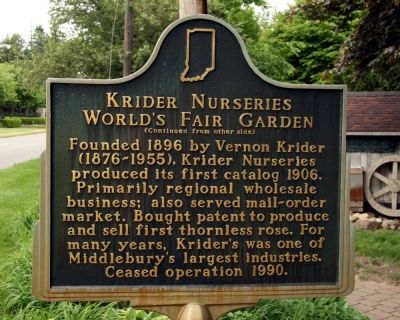 Krider Nurseries World's Fair Garden Marker image. Click for full size.