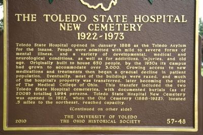 The Toledo State Hospital New Cemetery, 1922-1973 Marker image. Click for full size.