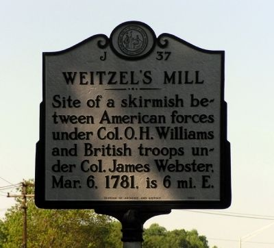 Weitzel's Mill Marker image. Click for full size.