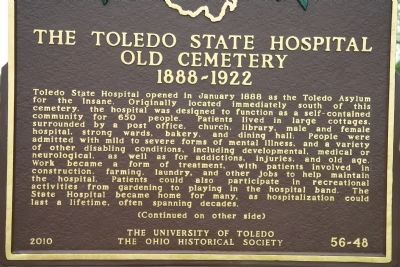 The Toledo State Hospital Old Cemetery, 1888-1922 Marker image. Click for full size.