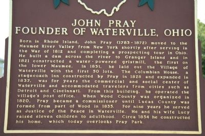 John Pray - Founder of Waterville,Ohio image. Click for full size.
