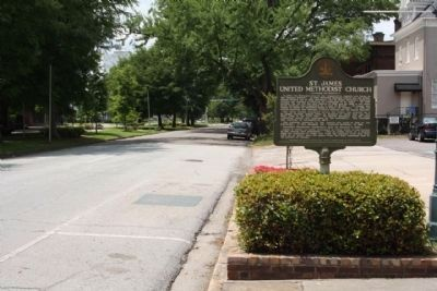St. James United Methodist Church Marker seen along westbound Greene Street Photo, Click for full size