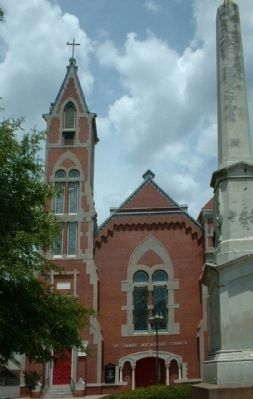 St. James United Methodist Church and cenotaph, as mentioned Photo, Click for full size