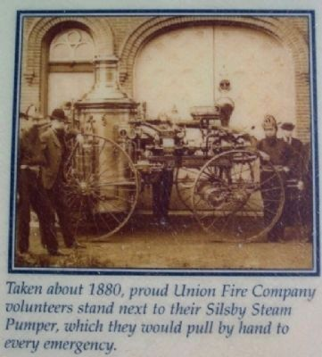 Silsby Steamer Pic on Union Fire Co Marker image. Click for full size.