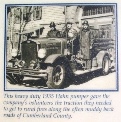 Union Fire Co 1935 Hahn Pumper Pic on Marker image. Click for full size.