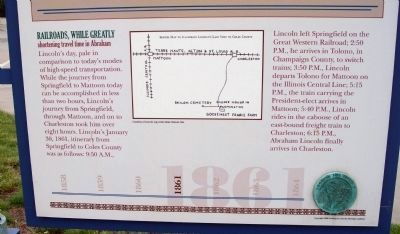 Lower Section (Side One) - - Lincoln's Last Visit / The Debaters in Mattoon Marker image. Click for full size.