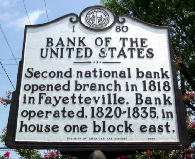 Bank of the United States Marker image. Click for full size.