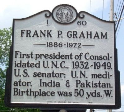Frank P. Graham Marker Photo, Click for full size