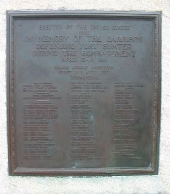 The Garrison Defending Fort Sumter Marker Photo, Click for full size