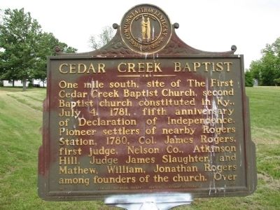 Cedar Creek Baptist Marker image. Click for full size.