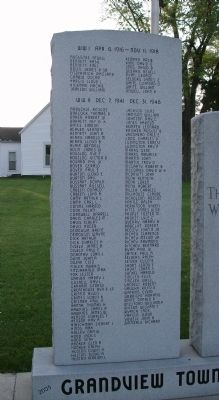 Left Panel - - Grandview Township Veterans Honor Roll Marker image. Click for full size.