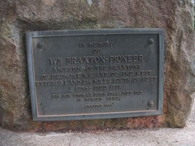 In Memory of William Braxton - Pioneer Marker image. Click for full size.