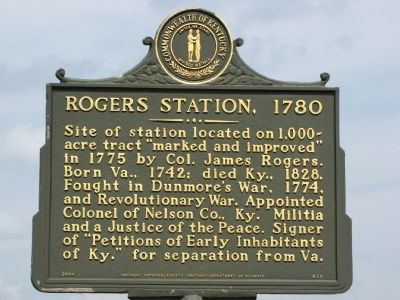 Rogers Station, 1780 Marker image. Click for full size.
