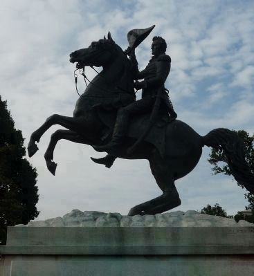 Andrew Jackson Statue (by sculptor Clark Mills, 1853) centerpiece of Lafayette Square image. Click for full size.