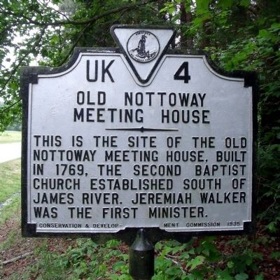 Old Nottoway Meeting House Marker image. Click for full size.