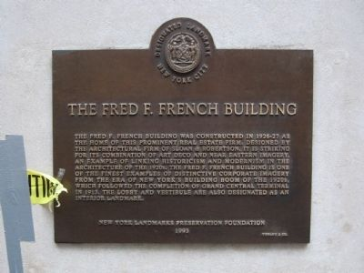 The Fred F. French Building Marker image. Click for full size.