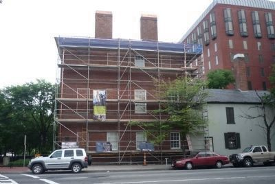 Decatur House undergoing renovations, 2010 - note temporary historical signage on scaffolds image. Click for full size.