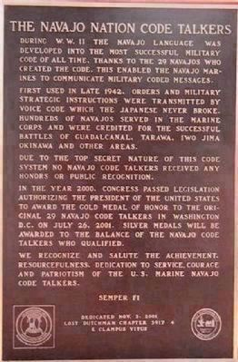 The Navajo Nation Code Talkers image. Click for full size.