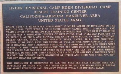 Hyder Divisional Camp-Horn Divisional Camp Desert Training Center Marker image. Click for full size.