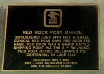 Red Rock Post Office Marker image. Click for full size.