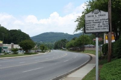 David L. Swain Marker, seen looking north along US 25, Merrimon Avenue image. Click for full size.