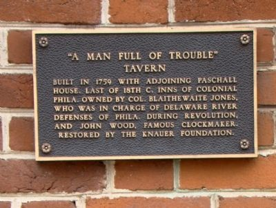 """A Man Full of Trouble"" Tavern Marker image. Click for full size."