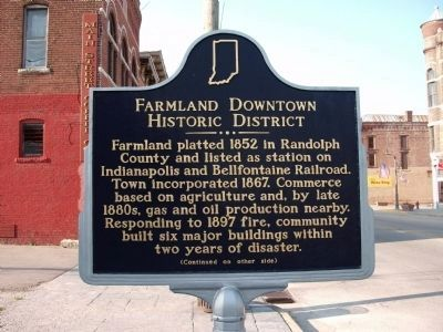 "Side ""A"" - - Farmland Downtown Historic District Marker image. Click for full size."