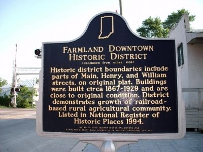 "Side ""B"" - - Farmland Downtown Historic District Marker image. Click for full size."