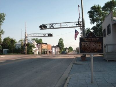 Looking North - - Farmland Downtown Historic District Marker image. Click for full size.