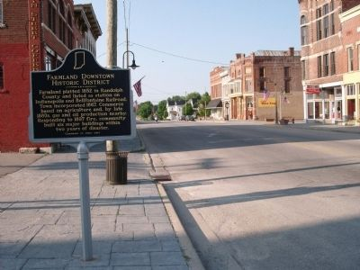Looking South - - Farmland Downtown Historic District Marker image. Click for full size.