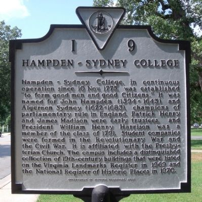 Hampden-Sydney College Marker Photo, Click for full size