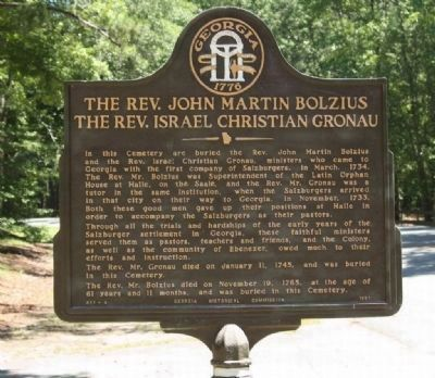 The Rev. John Martin Bolzius / The Rev. Israel Christian Gronau Marker image. Click for full size.