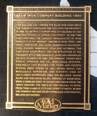 Baum Iron Company Building 1880 Marker image. Click for full size.