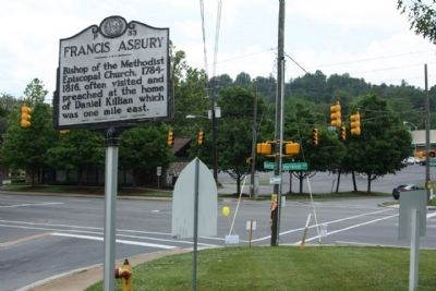 Francis Asbury Marker at Beaverdam Road and Merrimon Avenue (US 25) intersection image. Click for full size.