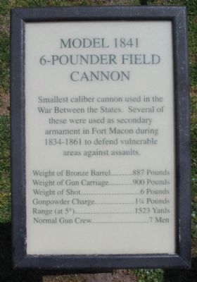 Model 1841 6-pounder Field Cannon Marker image. Click for full size.