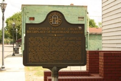 Springfield Baptist Church Birthplace of Morehouse College Marker image. Click for full size.