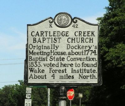 Cartledge Creek Baptist Church Marker image. Click for full size.