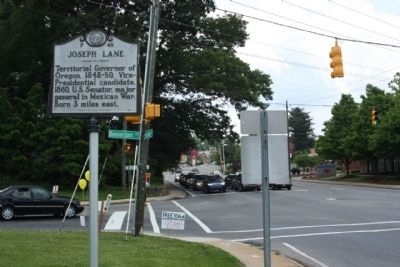 Joseph Lane Marker at intersection Merrimon Avenue and Beaverdam Road image. Click for full size.