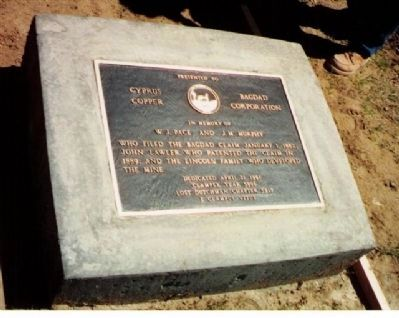 Bagdad Copper Mine Marker image. Click for full size.