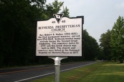 Bethesda Presbyterian Church Marker (Side B) image. Click for full size.