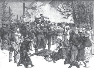 Rescuing miners almost overcome by back damp on Saturday, Feb. 4, 1882. image. Click for full size.