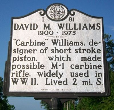 "David M. ""Carbine"" Williams Marker image. Click for full size."