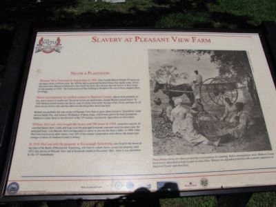 Slavery at Pleasant View Farm Marker image. Click for full size.